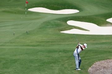 U.S. golfer Jordan Spieth hits a shot during the first round of the Australian Open golf tournament at the Australian Golf Club in Sydney, Australia