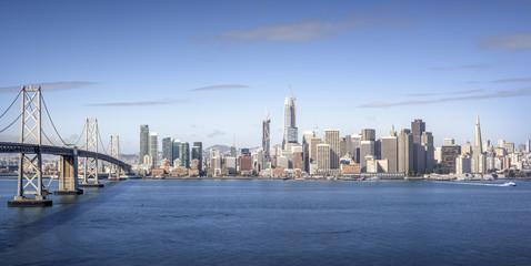 Bay Bridge and San Francisco downtown at morning. View from treasure island