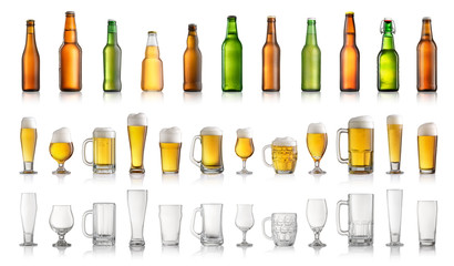 Collection of different beer bottles and glasses isolated on white background
