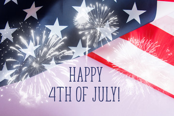 Happy fourth of july against usa flag. Happy independence day card
