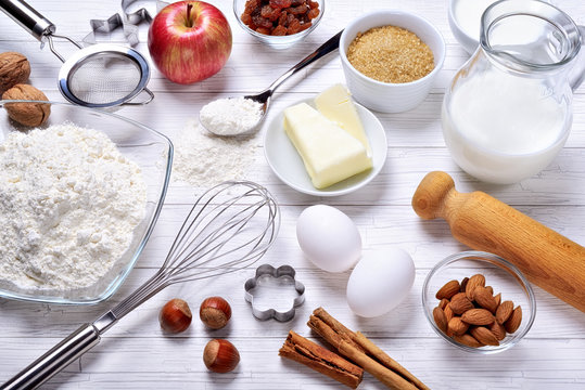Pastry tools and ingredients