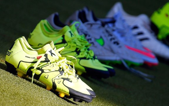 Emre Can's soccer boots with a Turkish flag and his name on, are seen on the pitch before a training session of the German national soccer team in Frankfur