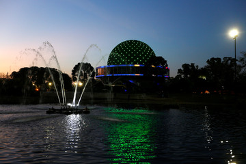 The Galileo Galilei planetarium is seen lit in the colours of Brazil's flag in homage to 2016 Rio Olympics in Buenos Aires, Argentina