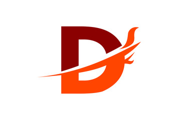 D Red Fire Swoosh Flame Letter Logo