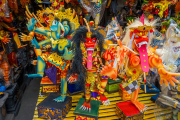 BALI, INDONESIA - MARCH 08, 2017: Impresive hand made structures, Ogoh-ogoh statue built for the Ngrupuk parade, which takes place on the even of Nyepi day in Bali, Indonesia