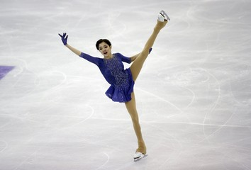 Medvedeva of Russia performs during the ladies free program at the ISU Grand Prix of Figure Skating final in Barcelona, Spain