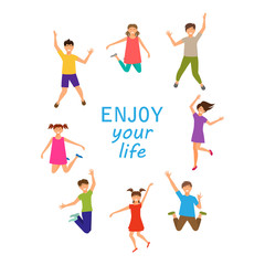 Enjoy Your Life, Happy Children Jumping Isolated on White Background