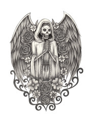 Art  angel skull .Hand pencil drawing on paper.