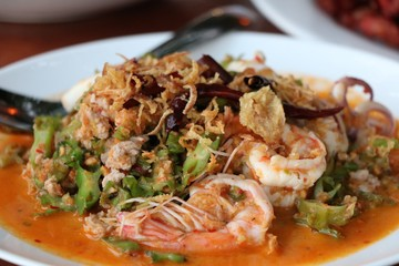Spicy Shrimp and betel nuts Thai food on restaurant table