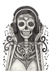 Art girl skull listen music day of the dead.Hand pencil drawing on paper.