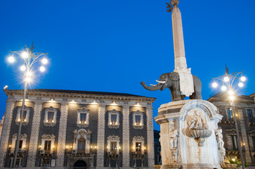 Landmarks of Catania, Sicily; night view of the famous lava stone statue of an elephant and its obelisk in the main Square