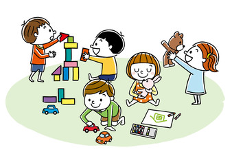 Obraz 遊んでいる子供たち  - fototapety do salonu