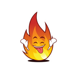 Ecstatic fire character cartoon style
