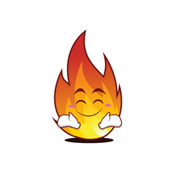 Happy fire character cartoon style