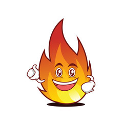 Enthusiastic fire character cartoon style
