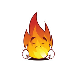 Sad fire character cartoon style