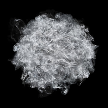 white smoke ball isolated on black