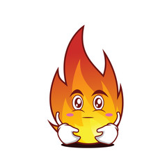 hugging fire character cartoon style