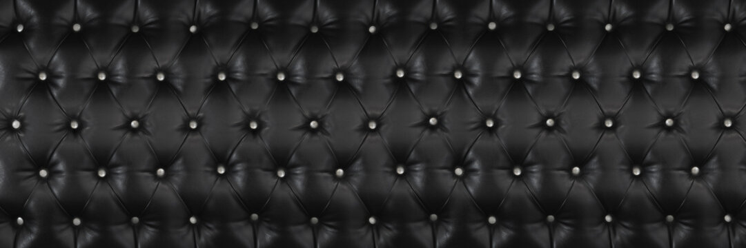 horizontal elegant black leather texture with white buttons for pattern and background