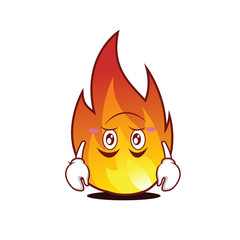 Tired fire character cartoon style