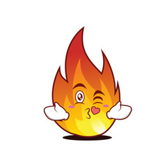 Kissing heart fire character cartoon style