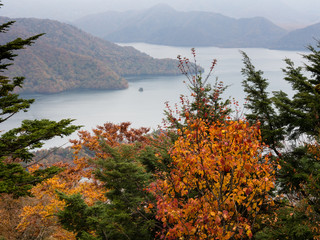 Fall colors in Nikko national park, Japan - view of Lake Chuzenji from a mountaintop overlook
