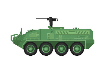 Modern combat vehicle isolated icon. Military technics object, army force heavy equipment, armored corps machinery vector illustration in flat design.