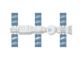 Modern orbital space station isolated icon. Astronautics and space technology object, spacecraft vector illustration in flat design.