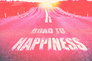 Road to Happiness written on road