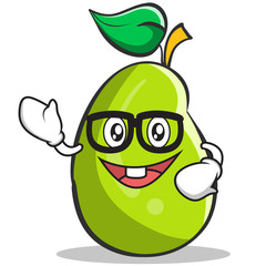 Geek mango fruit character cartoon