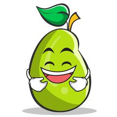 Laughing mango fruit character cartoon