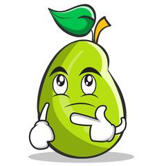 Thinking mango fruit character cartoon