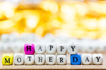 Wood dice with Words Happy Mother Day