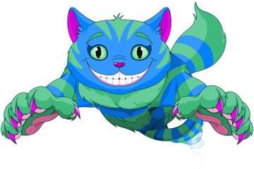 Canvas Prints Fairytale World Cheshire Cat jumping