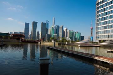 Sunny sky at city building of Shanghai skyline