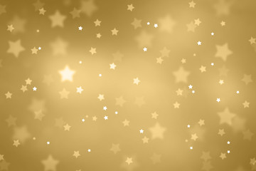 Beautiful blurry star shape bokeh background. Christmas and New Year Holidays copy space greeting card. Lovely gold colored Xmas illustration.