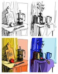 графические натюрморты с чайником и букетом