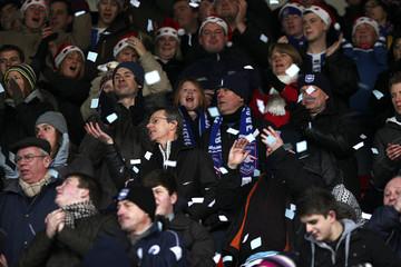 Brighton & Hove Albion fans wear santa hats