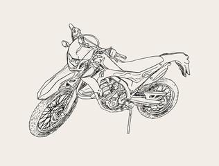 red motorbike sketch vector.