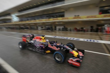 Red Bull driver Ricciardo pulls out of the pits during qualifying for the Formula One U.S. Grand Prix in Austin