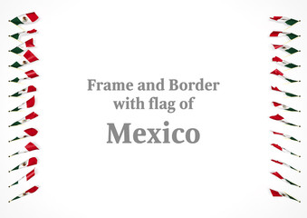 Frame and border with flag of Mexico. 3d illustration