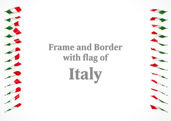 Frame and border with flag of Italy. 3d illustration