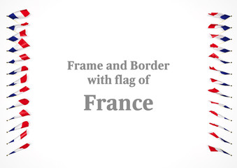 Frame and border with flag of France. 3d illustration