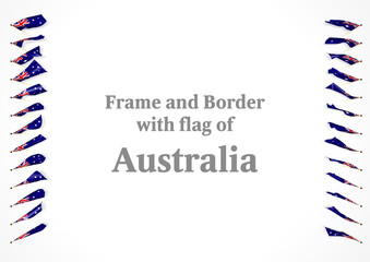 Frame and border with flag of  Australia. 3d illustration