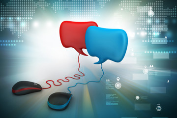 talking bubbles connected with mouse, social network Concept