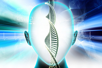 3D medical concept image with female face and DNA strands