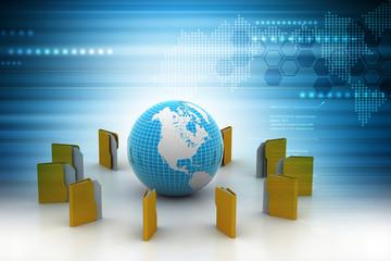File folder around the globe