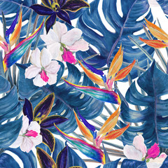 Watercolor seamless tropical pattern with exotic plants. Palm and deliciosa leaves. Orchid and bird of paradise flowers