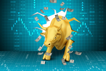 Rising golden business bull with graph