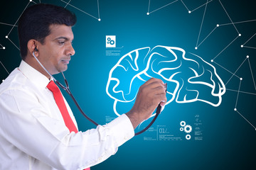 Doctor checking  human brain structure